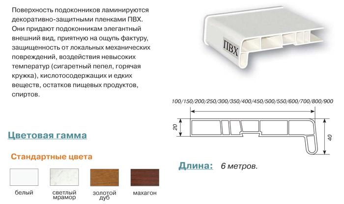 Подоконники ПВХ Россия